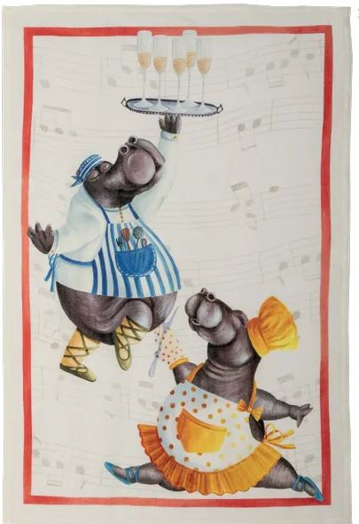 Tea Towels Linen –  Champagne Hippos