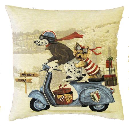 Belgium Cushion – Blue Scooter