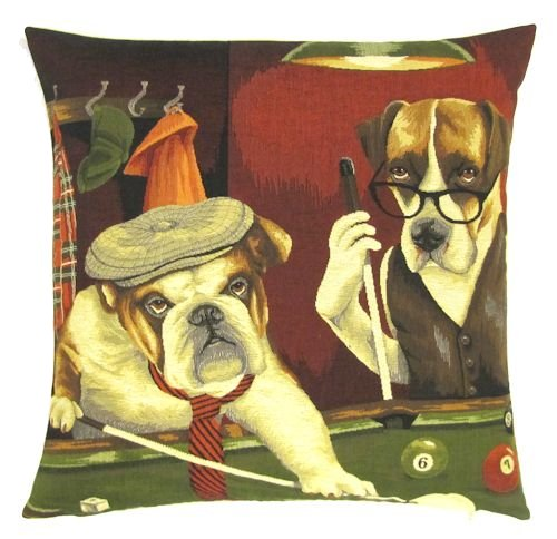 Belgium Cushion – dog playing pool
