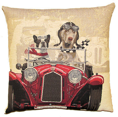 Belgium Cushion – Dogs in Red Car
