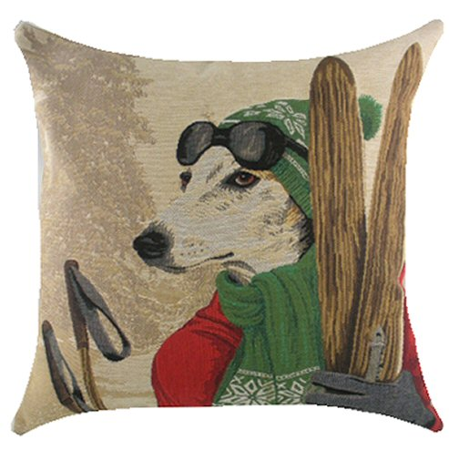Belgium Cushion – Ski Dog Green