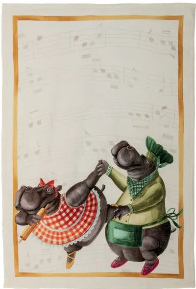 Tea Towels Linen –  Dancing Hippos