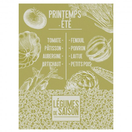 Tea towel Cotton weave-Jacquard Le Francais-legume lettuce
