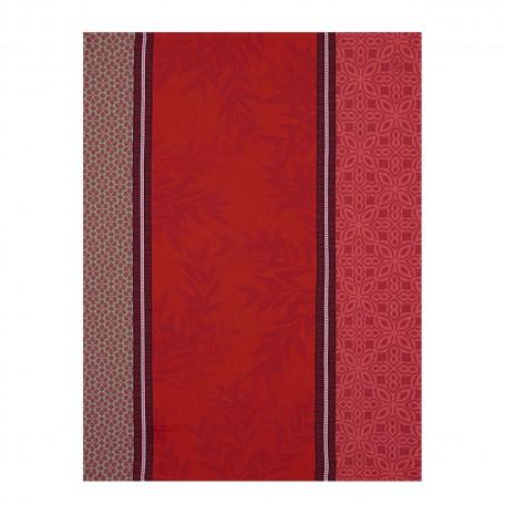 Tea towel Cotton weave-Jacquard Le Francais Red